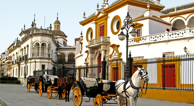 This is a typical horse carriage which can be found next to La Maestranza, in Seville city centre.